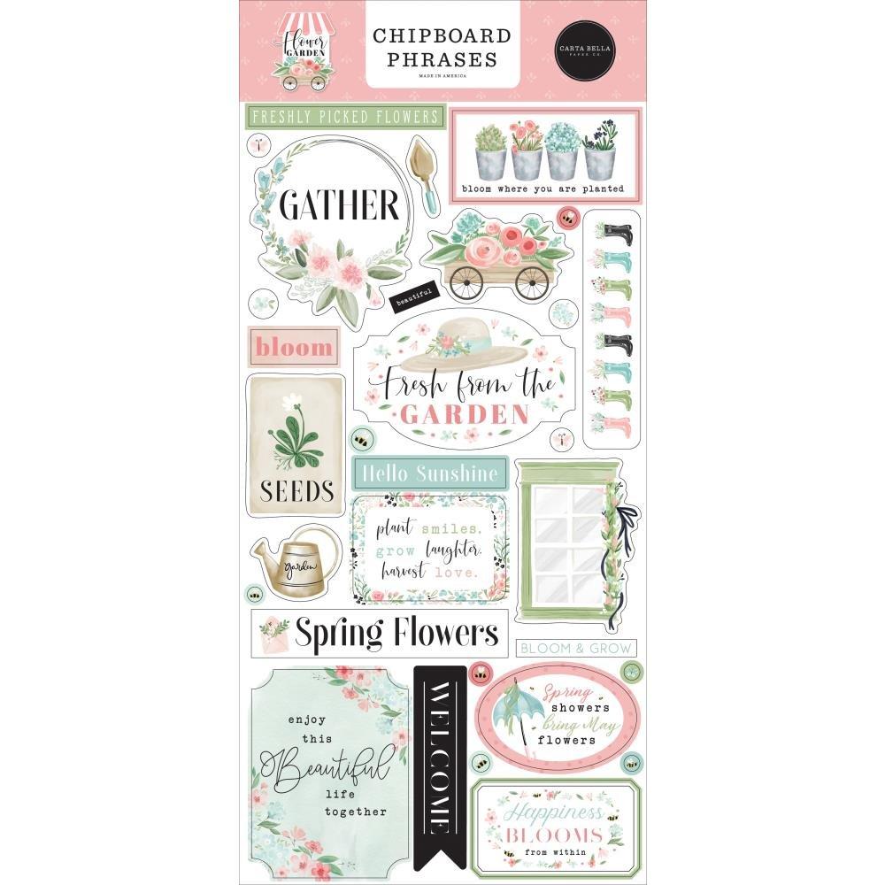 Flower Garden Chipboard Phrases