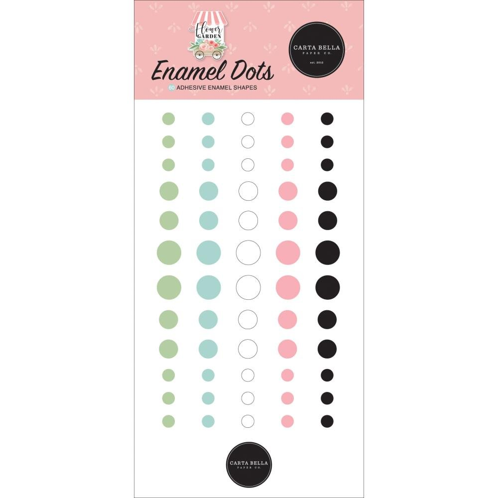 Carta Bella Adhesive Enamel Dots 60/Pkg-Flower Garden
