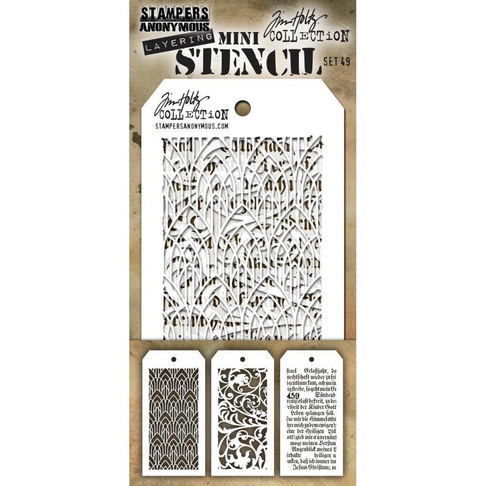 Tim Holtz Mini Layered Stencil Set 3/Pkg #49