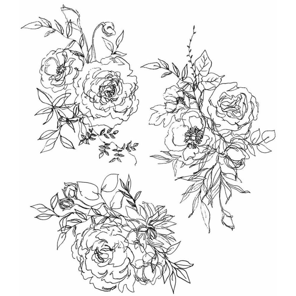 Tim Holtz Cling Stamps 7X8.5 Floral Outlines