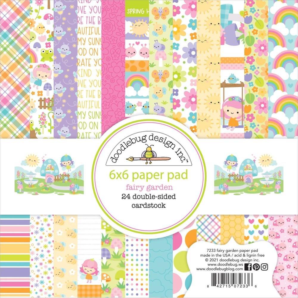 Doodlebug Double-Sided Paper Pad 6X6 24/Pkg Fairy Garden, 12 Designs/2 Each