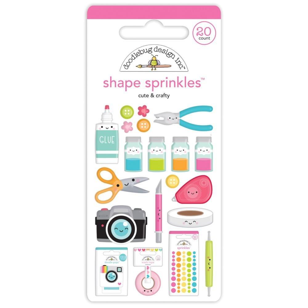 Doodlebug Sprinkles Adhesive Enamel Shapes-Cute & Crafty
