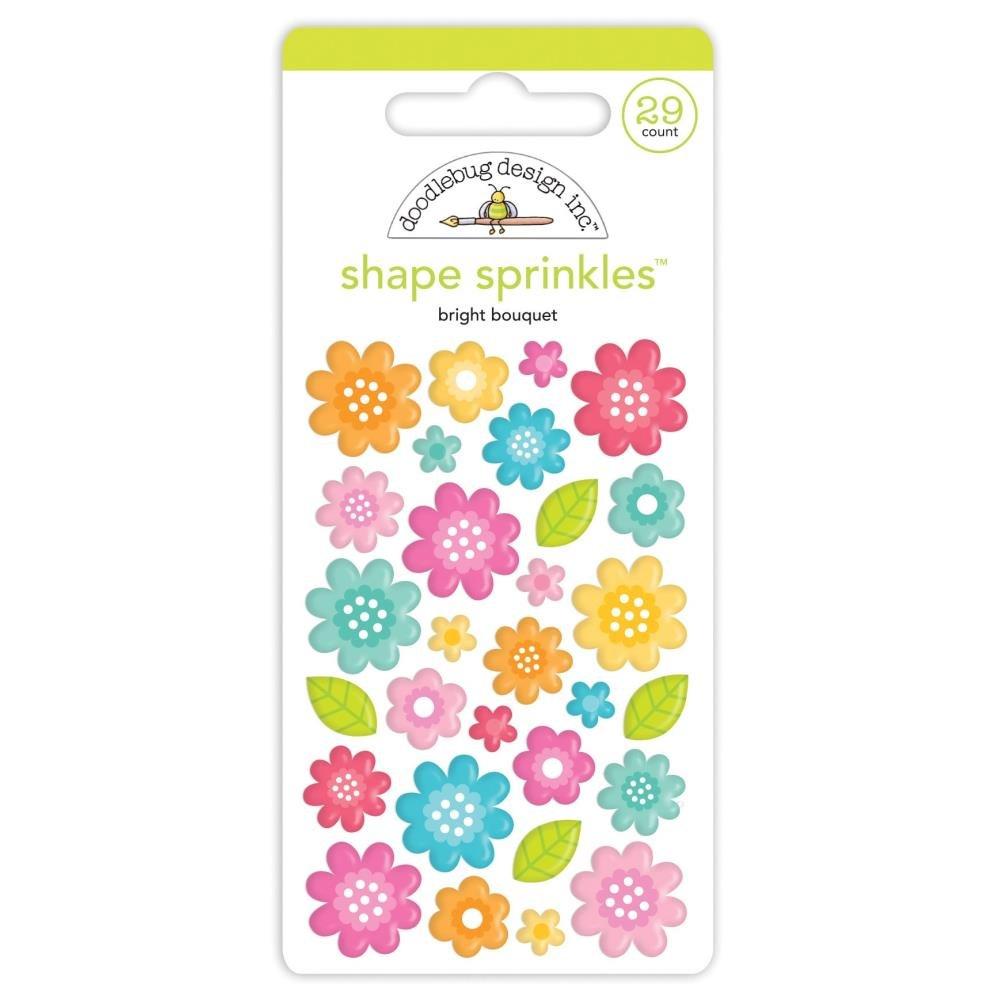 Doodlebug Sprinkles Adhesive Enamel Shapes-Bright Bouquet