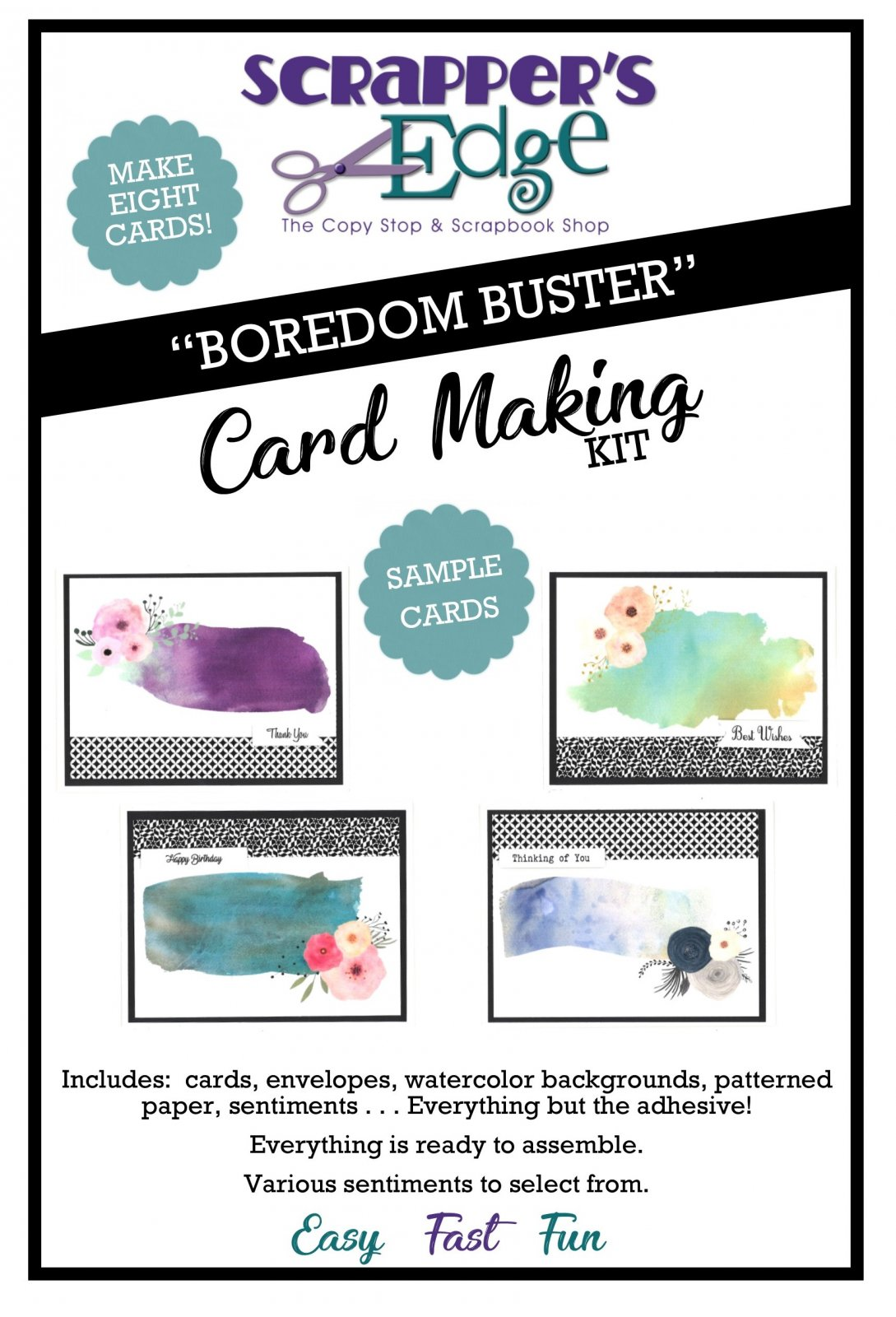 Boredom Buster Cardmaking Kit - Watercolor Backgrounds