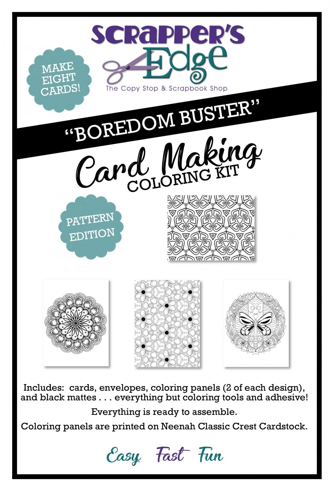Boredom Buster Cardmaking Coloring Kit  - PATTERN edition