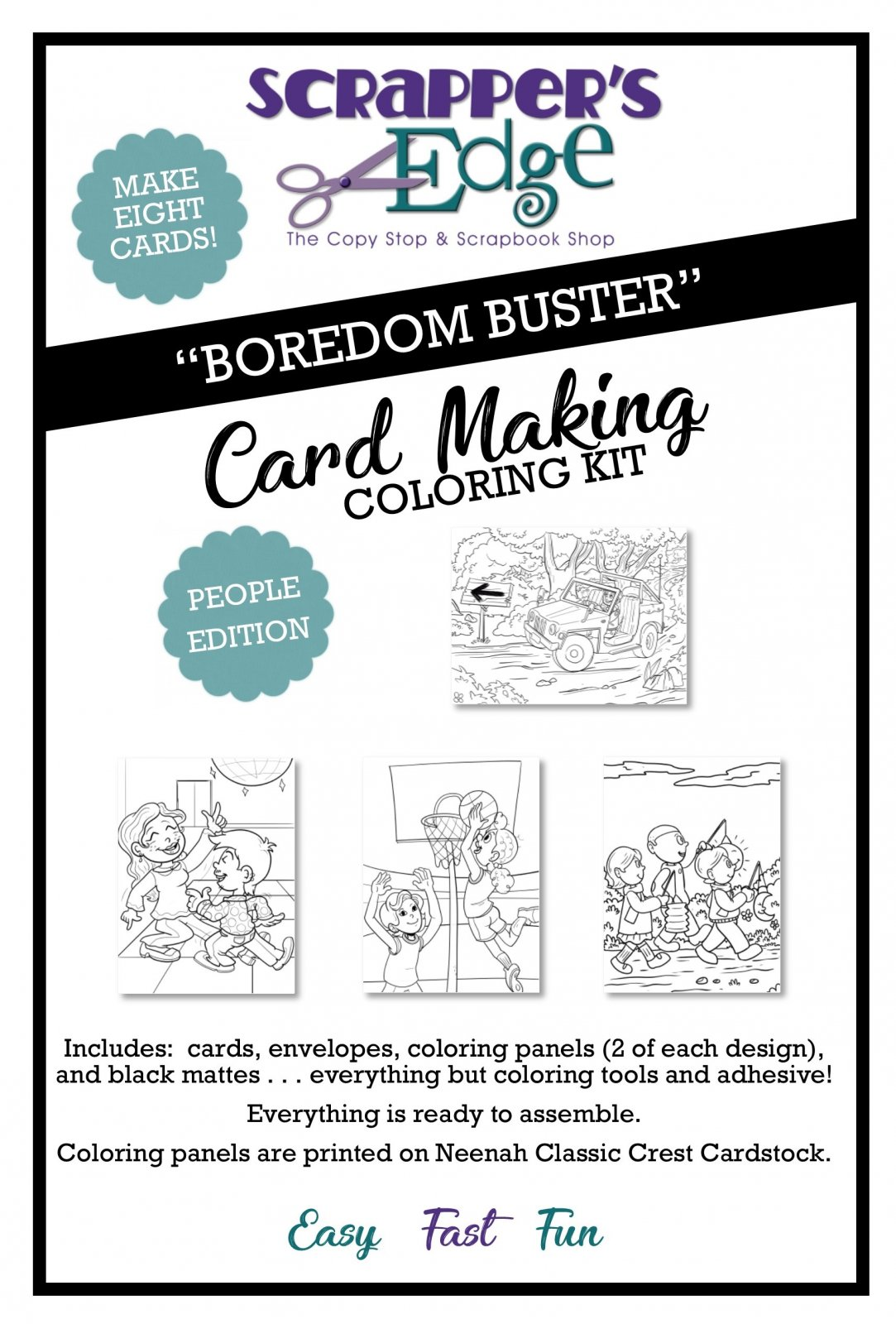 Boredom Buster Cardmaking Coloring Kit  -  PEOPLE edition