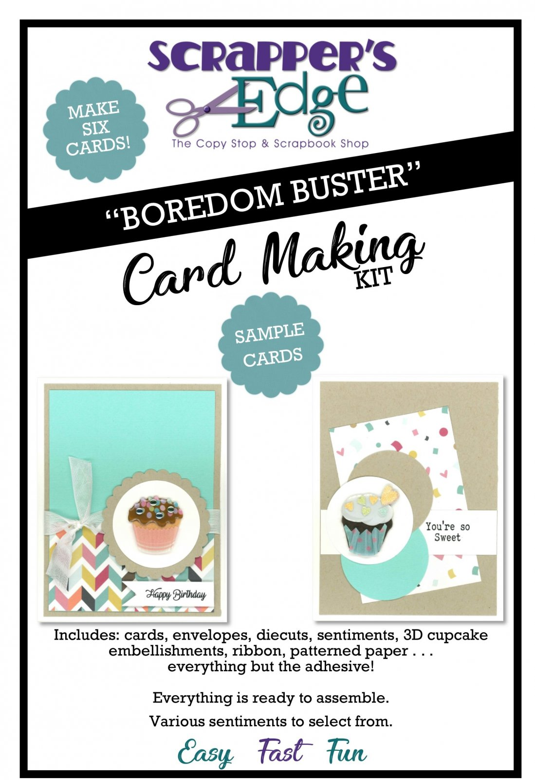 Boredom Buster Cardmaking Kit - Cupcakes