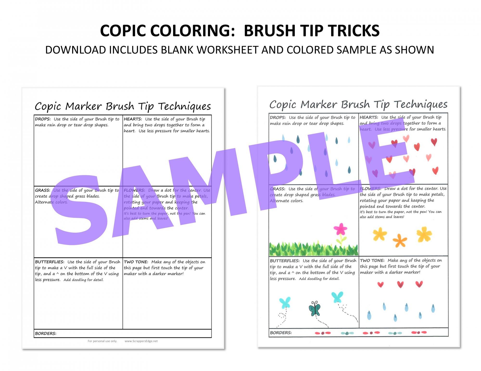 Copic Worksheet - Brush Tip Tricks
