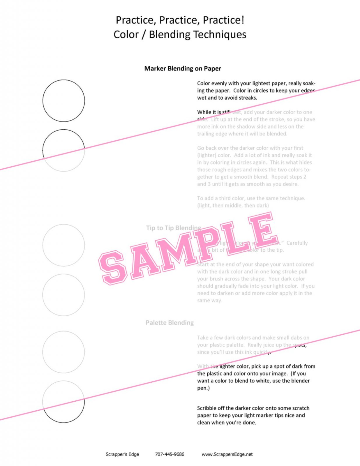 Copic Worksheet - Beginning Blending