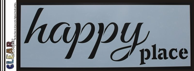 Clear Scraps Happy Place Stencil