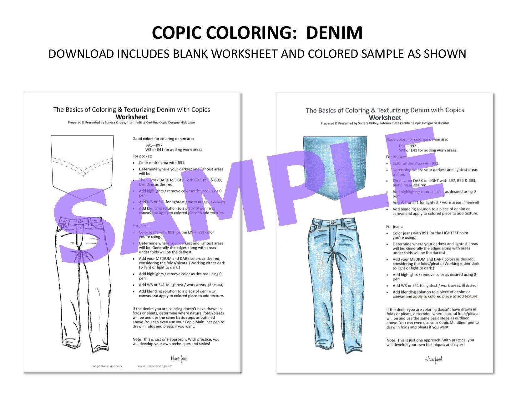 Copic Worksheet - Denim