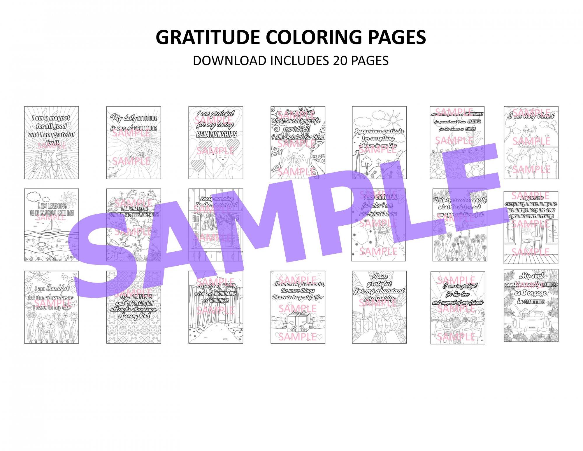 Gratitude Coloring Complete Set (20 Pages)