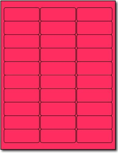 Flourescent Labels, 30 Up, Pink