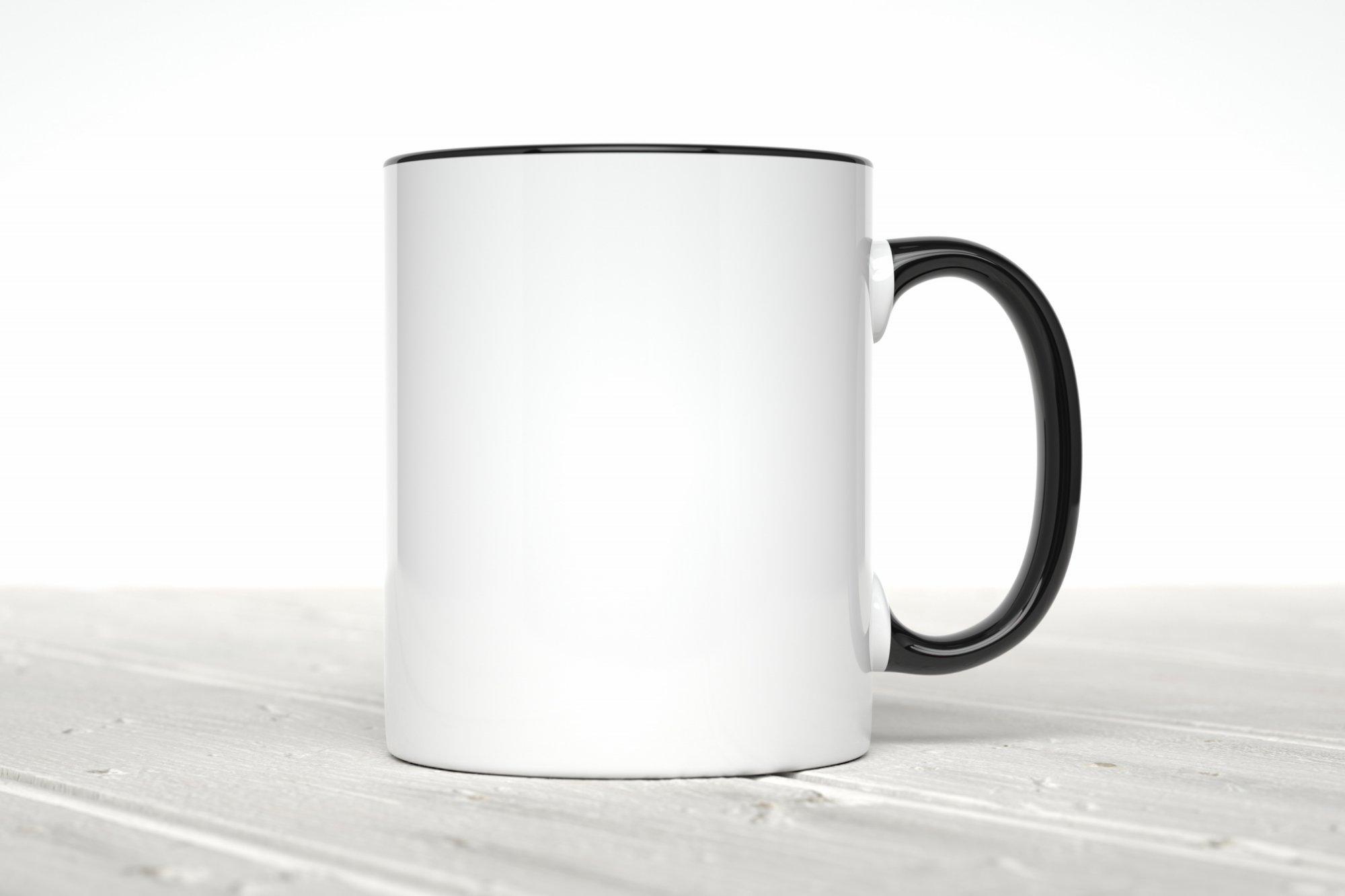 Personalized White Coffee Mug with black handle/inside, 11 oz.