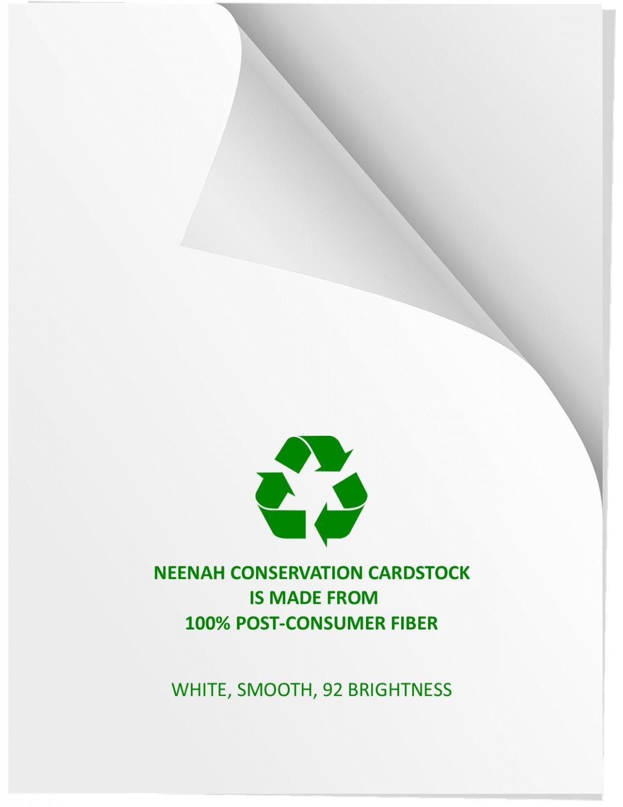 Neenah Conservation Cardstock, 100% post-consumer, chlorine-free