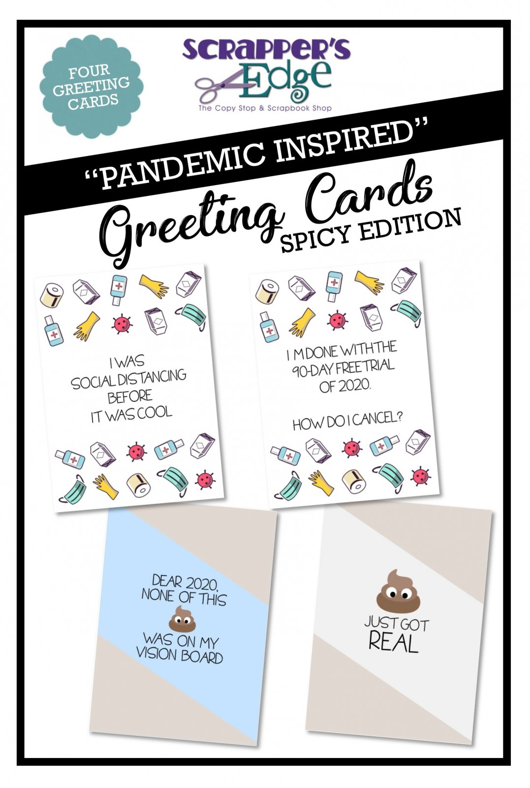 Pandemic Inspired Greeting Cards - Set of 4 - Spicy Edition