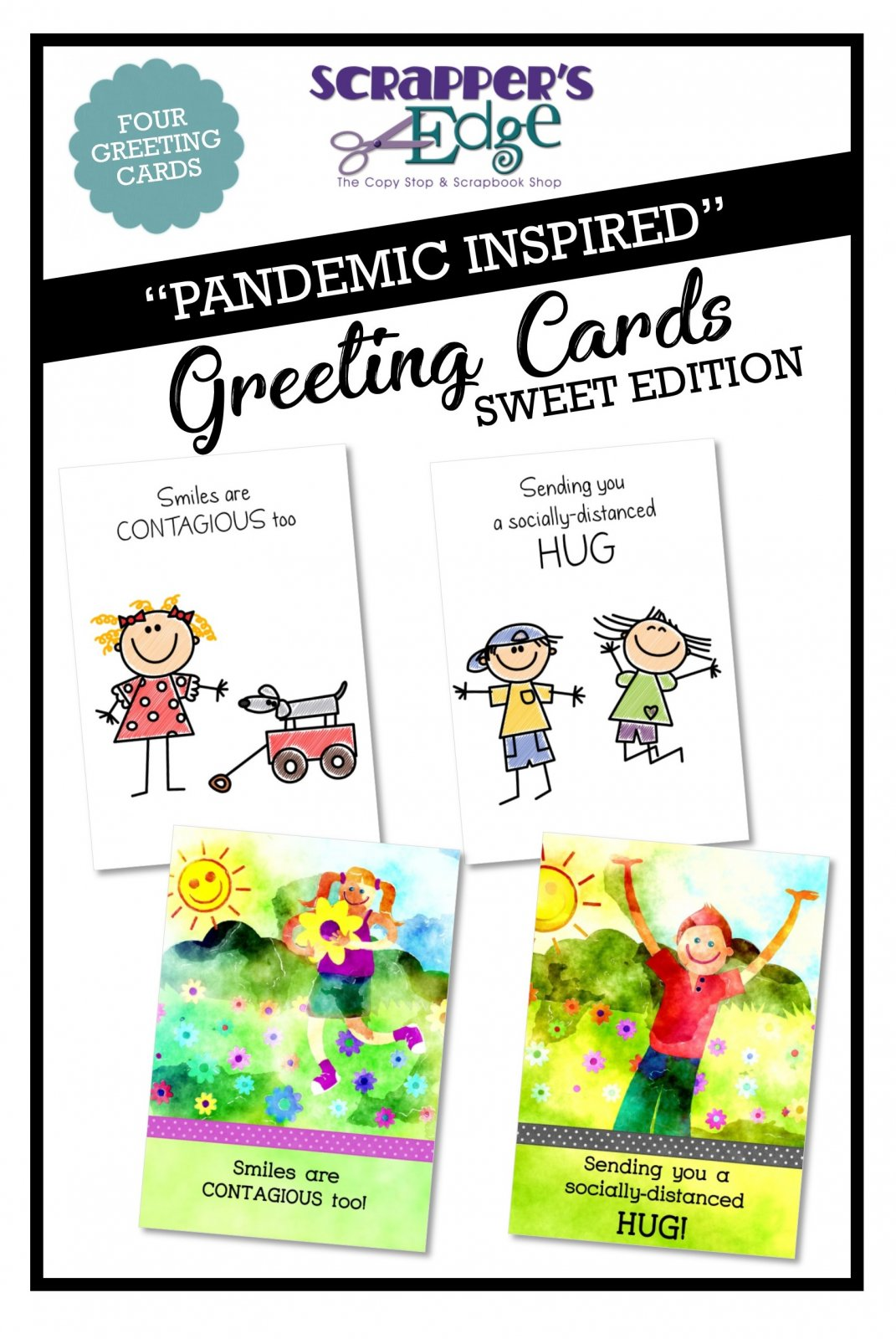 Pandemic Inspired Greeting Cards - Set of 4 - Sweet Edition