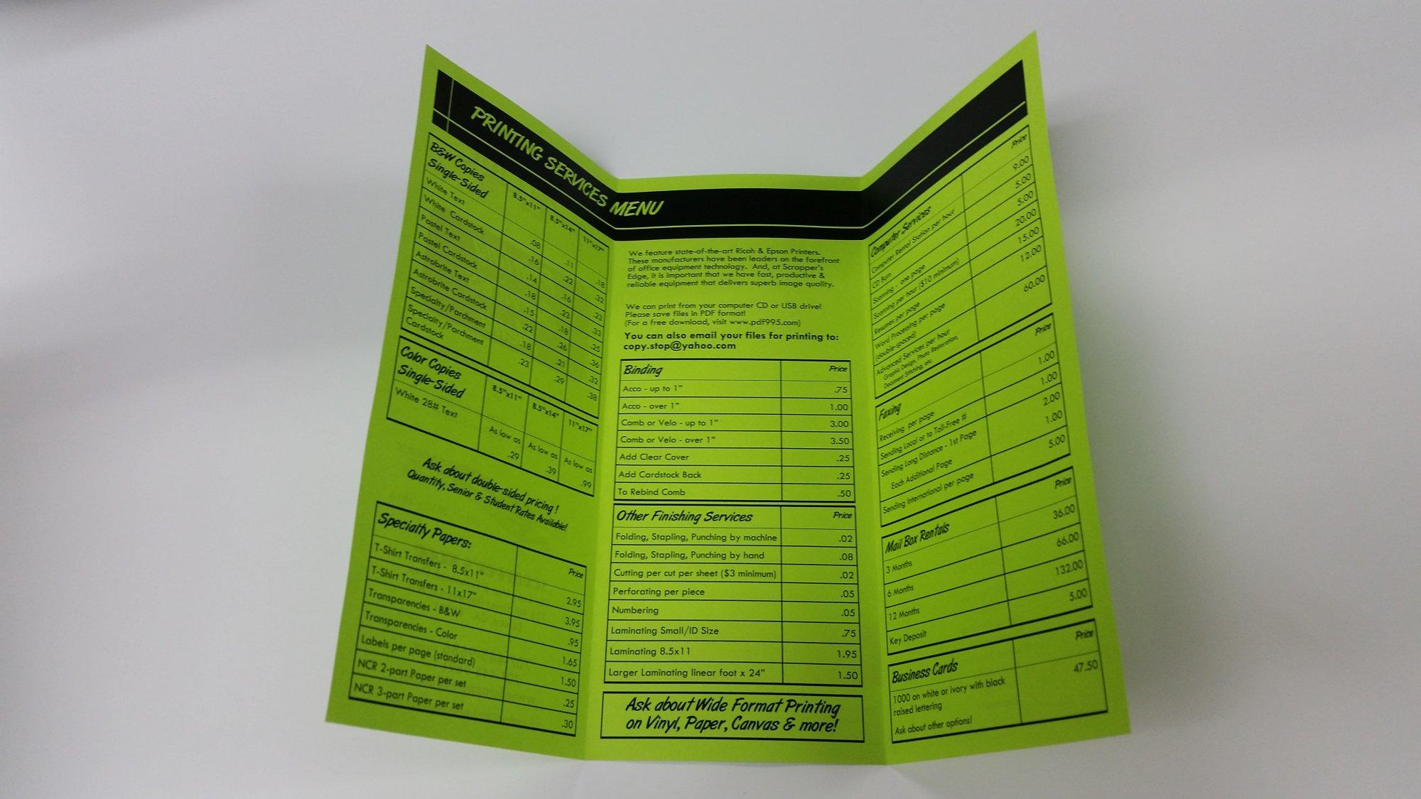Brochures Tri Fold 8.5x11 Black Printing Options (no bleed) Machine or Hand Folding