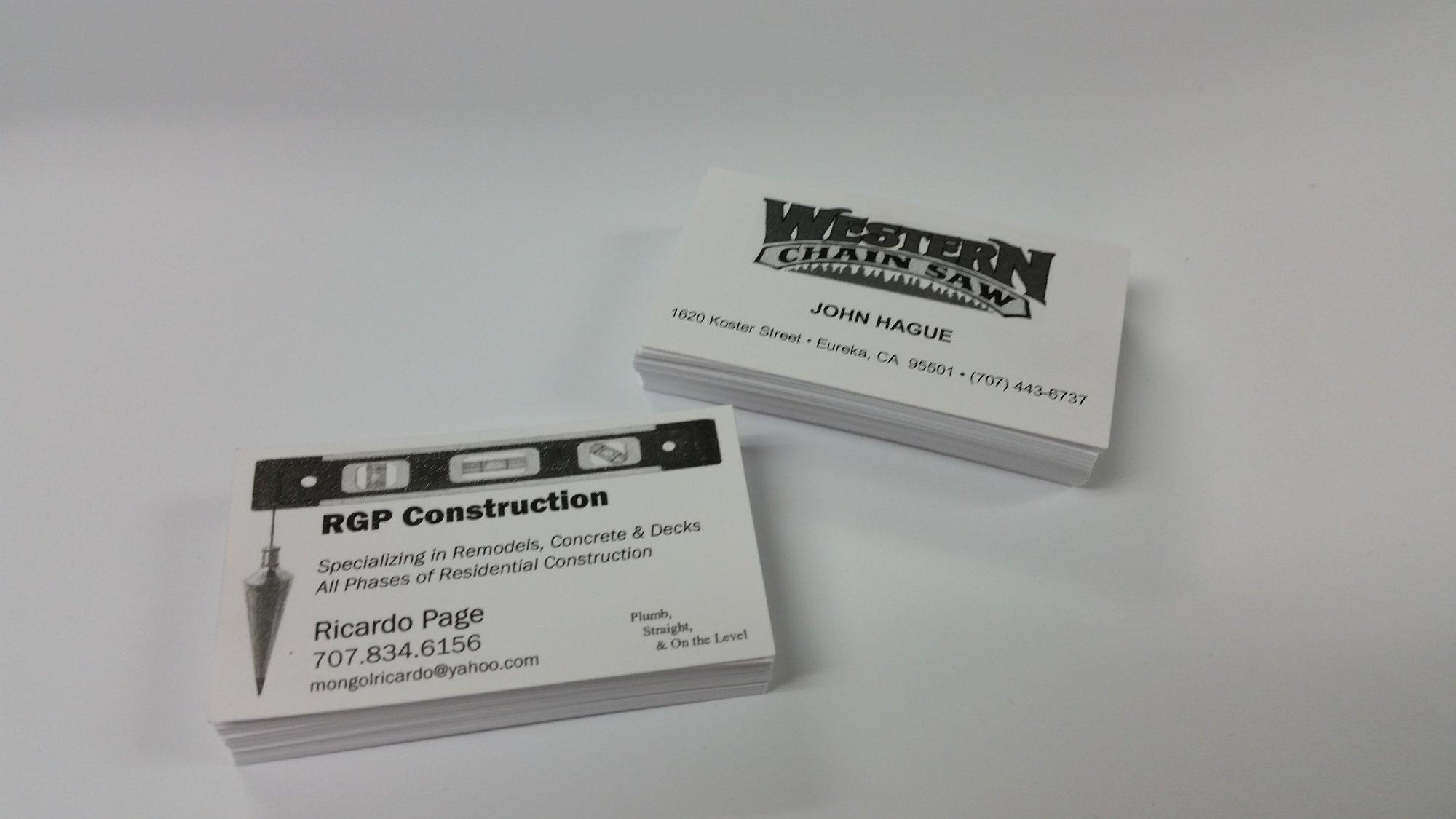 Business Card Pricing FLAT PRINTING BLACK PRINTING