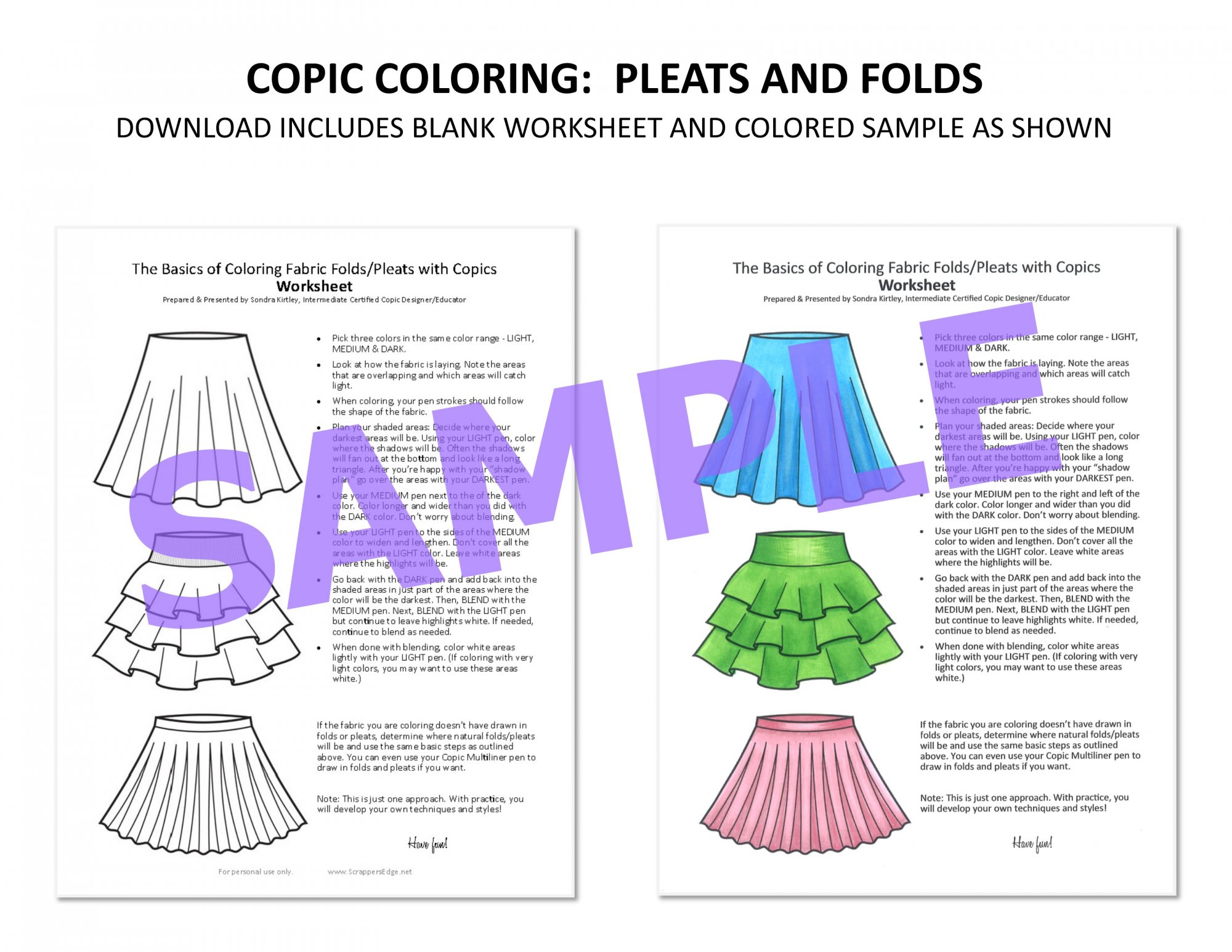 Copic Worksheet - Pleats & Folds