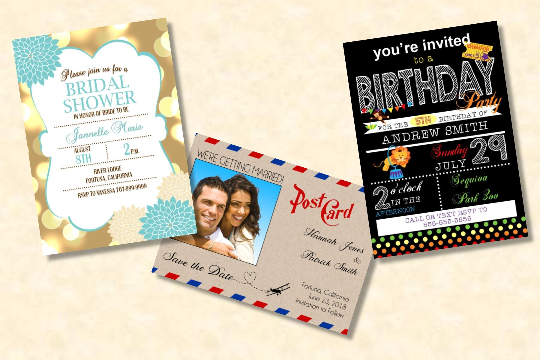 Postcard & Invitation Black Printing Options 5x7