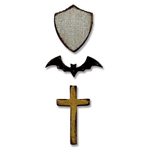 TH TINY BAT, CROSS & SHIELD-SIZZIX MOVR/SHPR DIE
