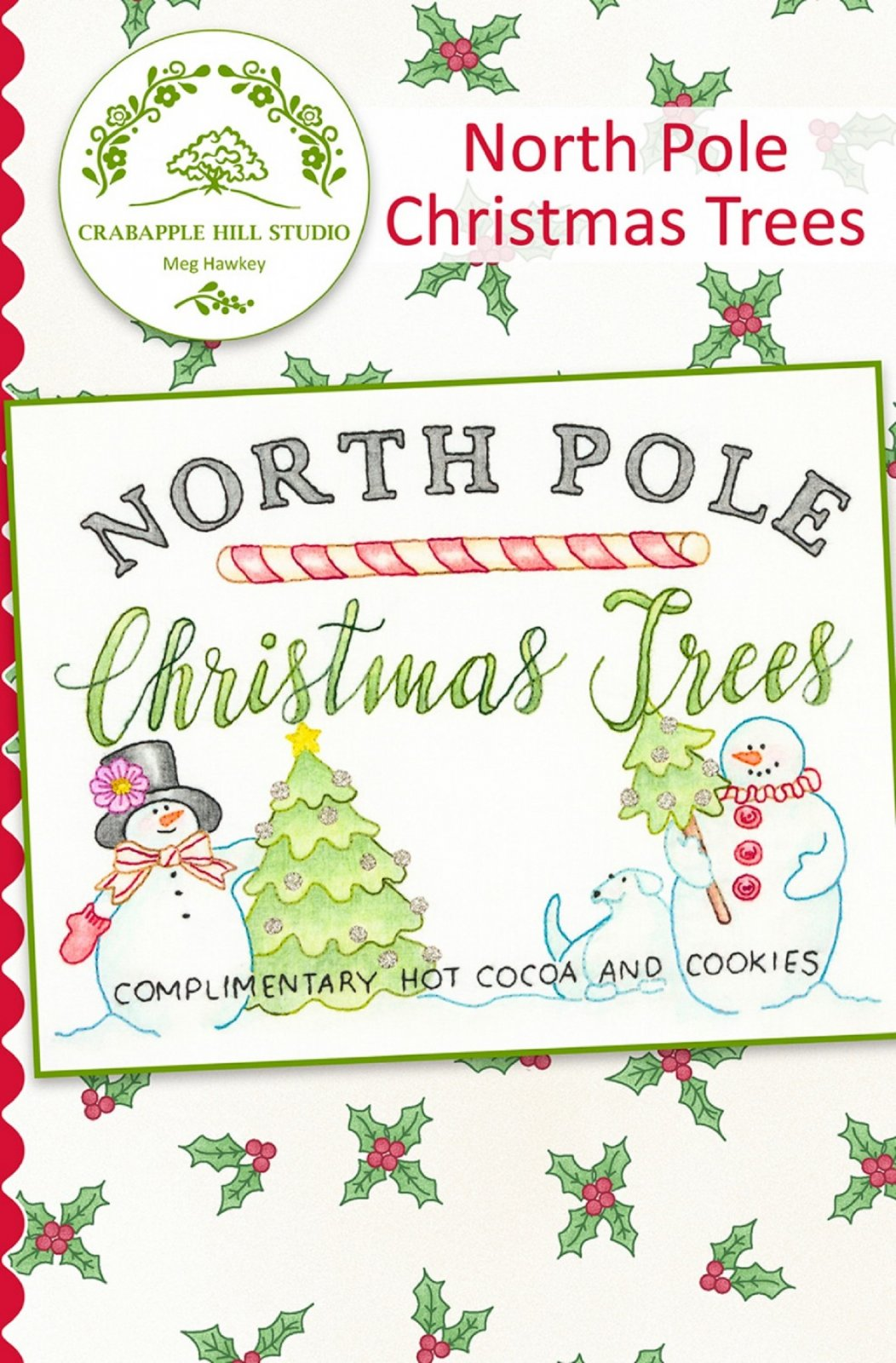 Crabapple Hill North Pole Christmas Trees Pattern with Cosmos Floss Kit