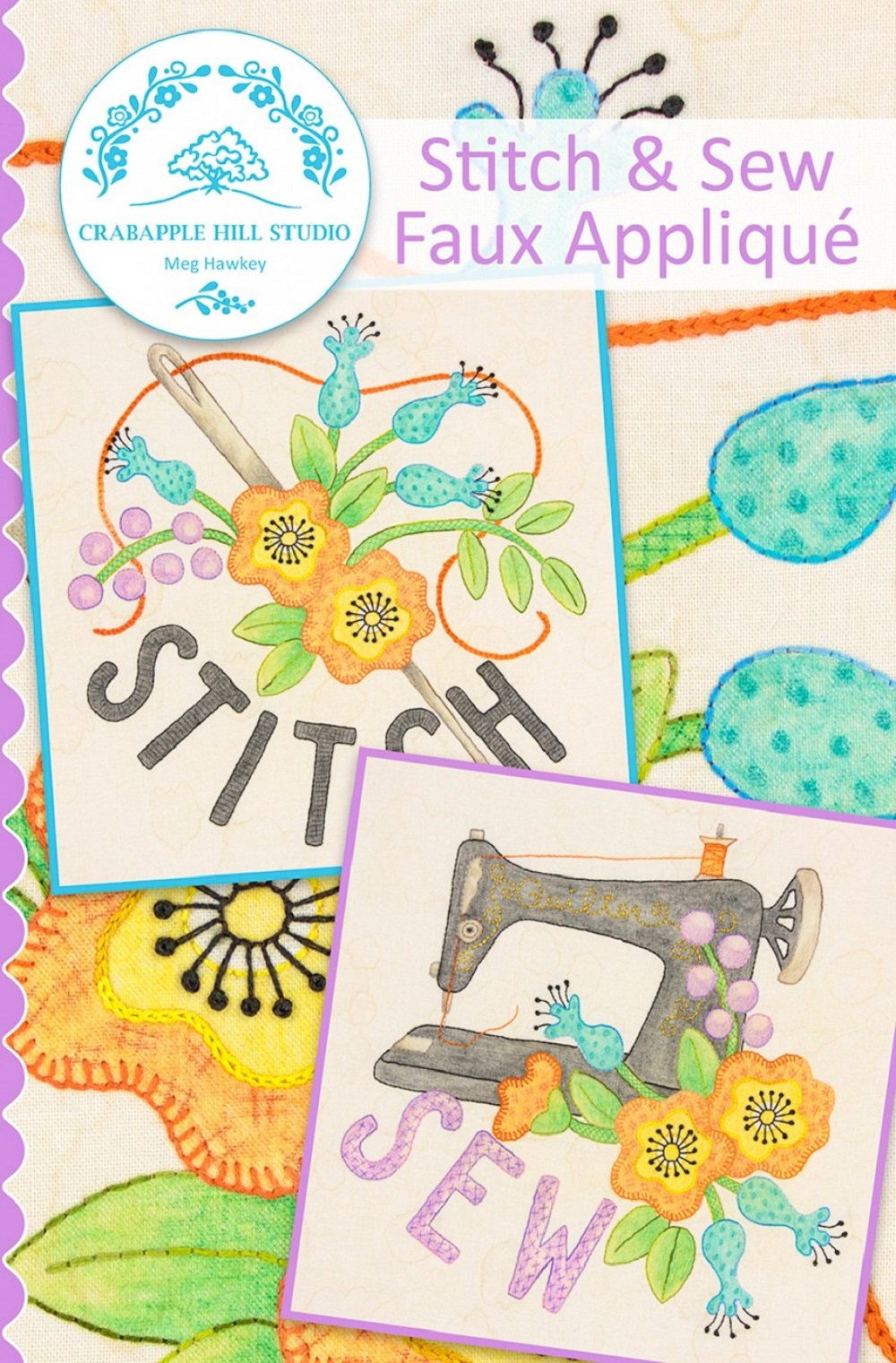Crabapple Hill - Stitch & Sew Faux Applique Pattern with Cosmos Floss Kit