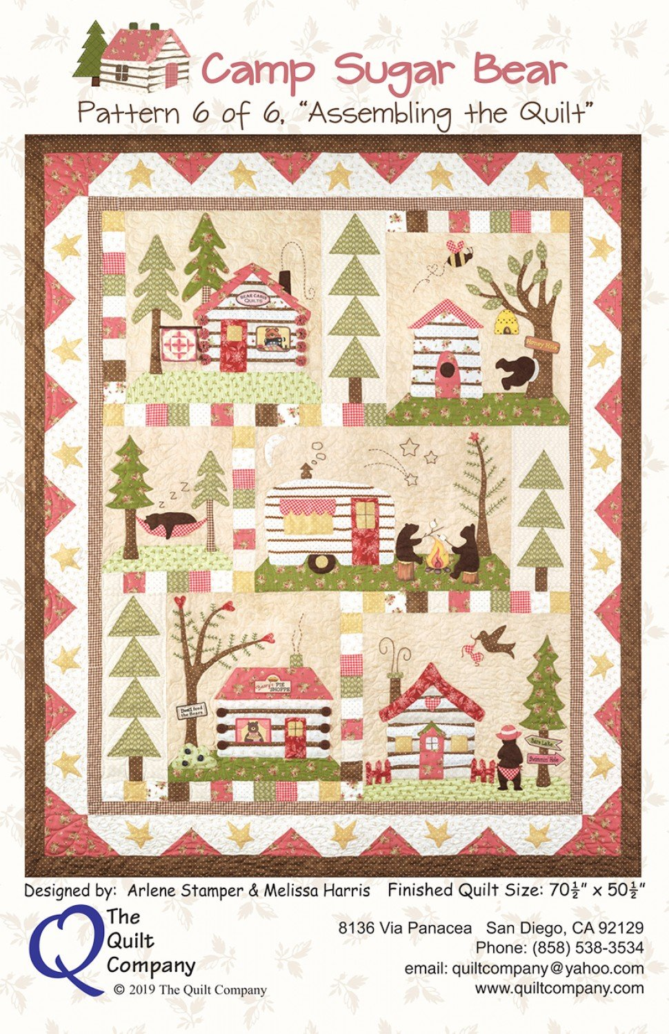 Camp Sugar Bear Quilt Pattern Set with Accessory Fabric Packet