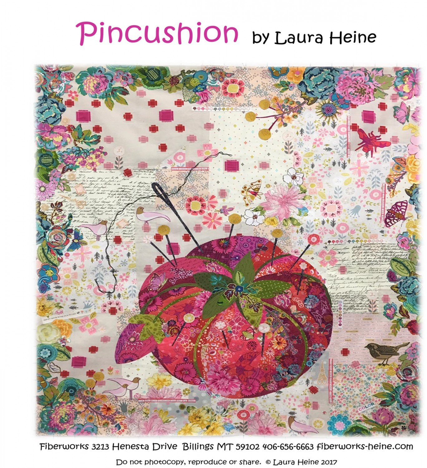 Pincushion Collage Quilt Pattern By Laura Heine of Fiberworks