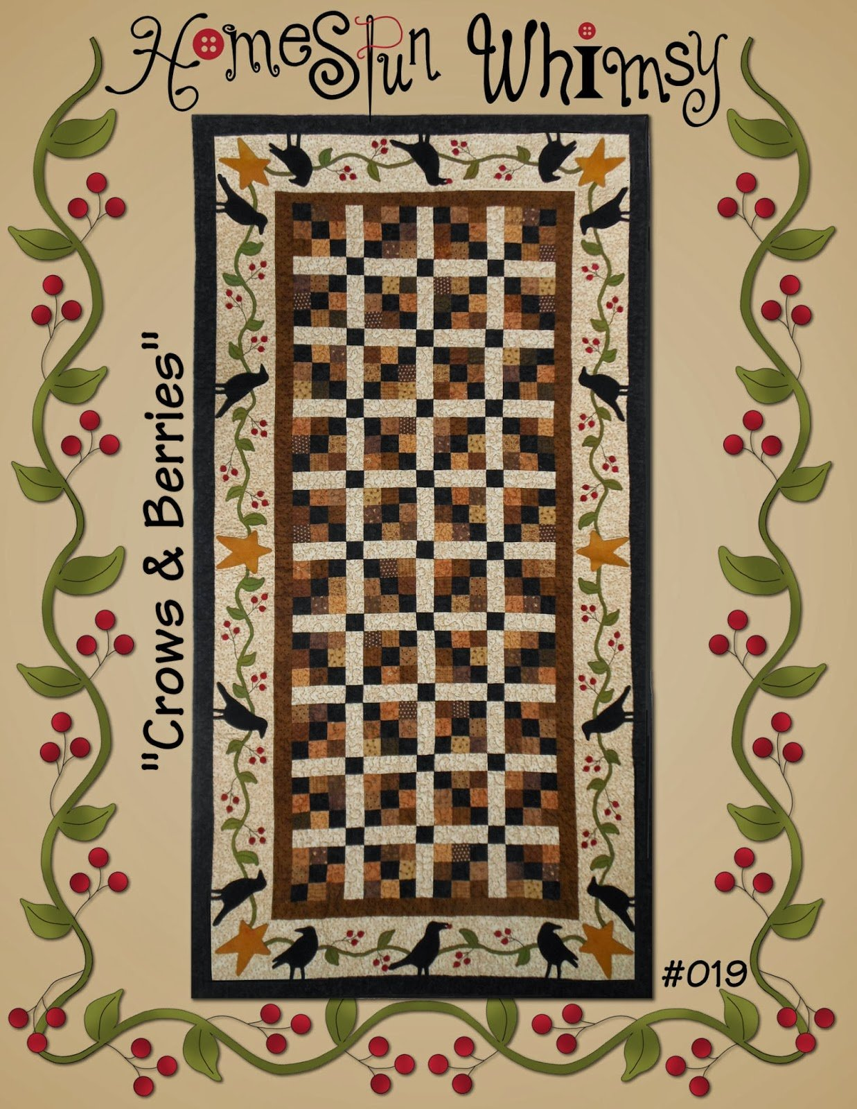 Crows & Berries Runner Pattern by Lori of Homespun Whimsy