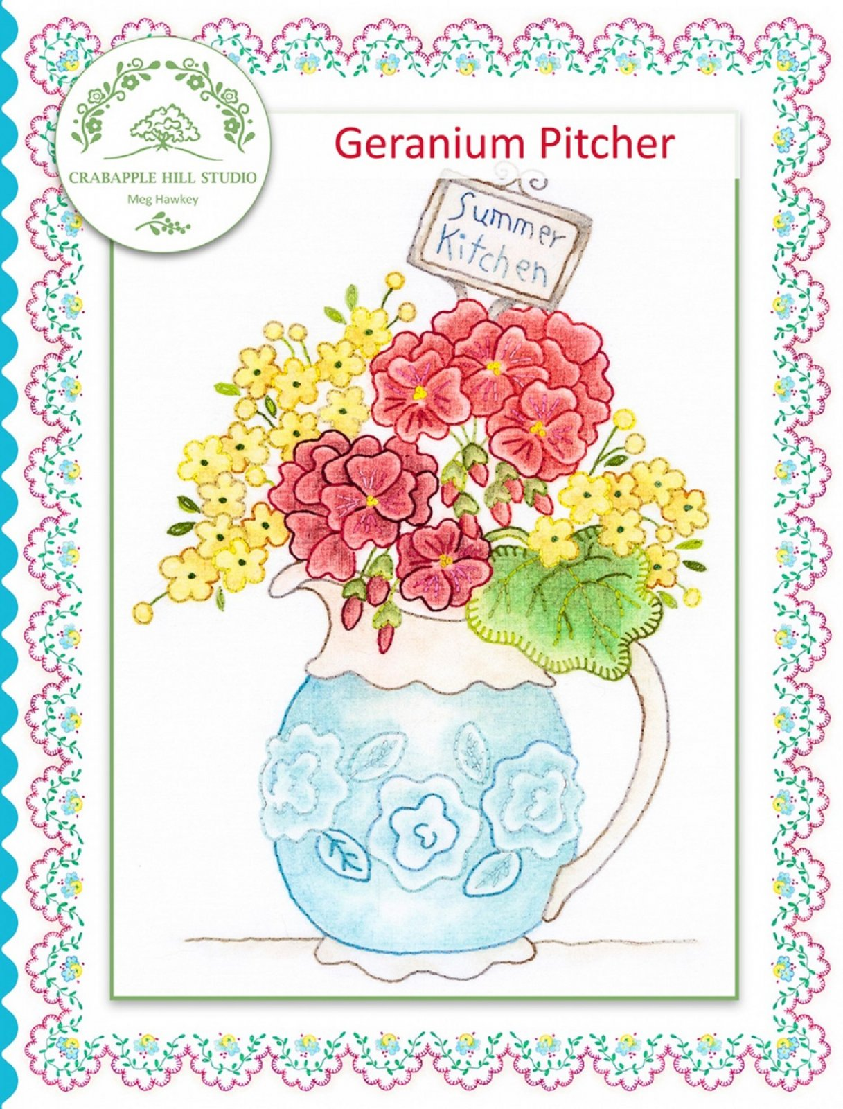 Crabapple Hill Summer Kitchen Geranium Pitcher Pattern with Cosmos Floss Kit
