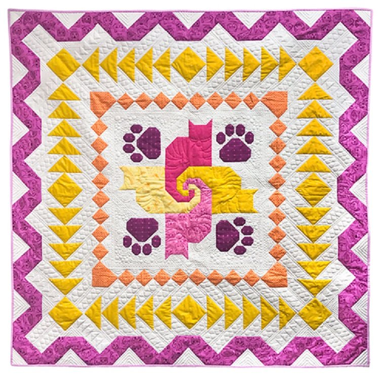 Caturday Medallion Quilt Kit from Windham Fabrics Featuring Caturday Fabrics