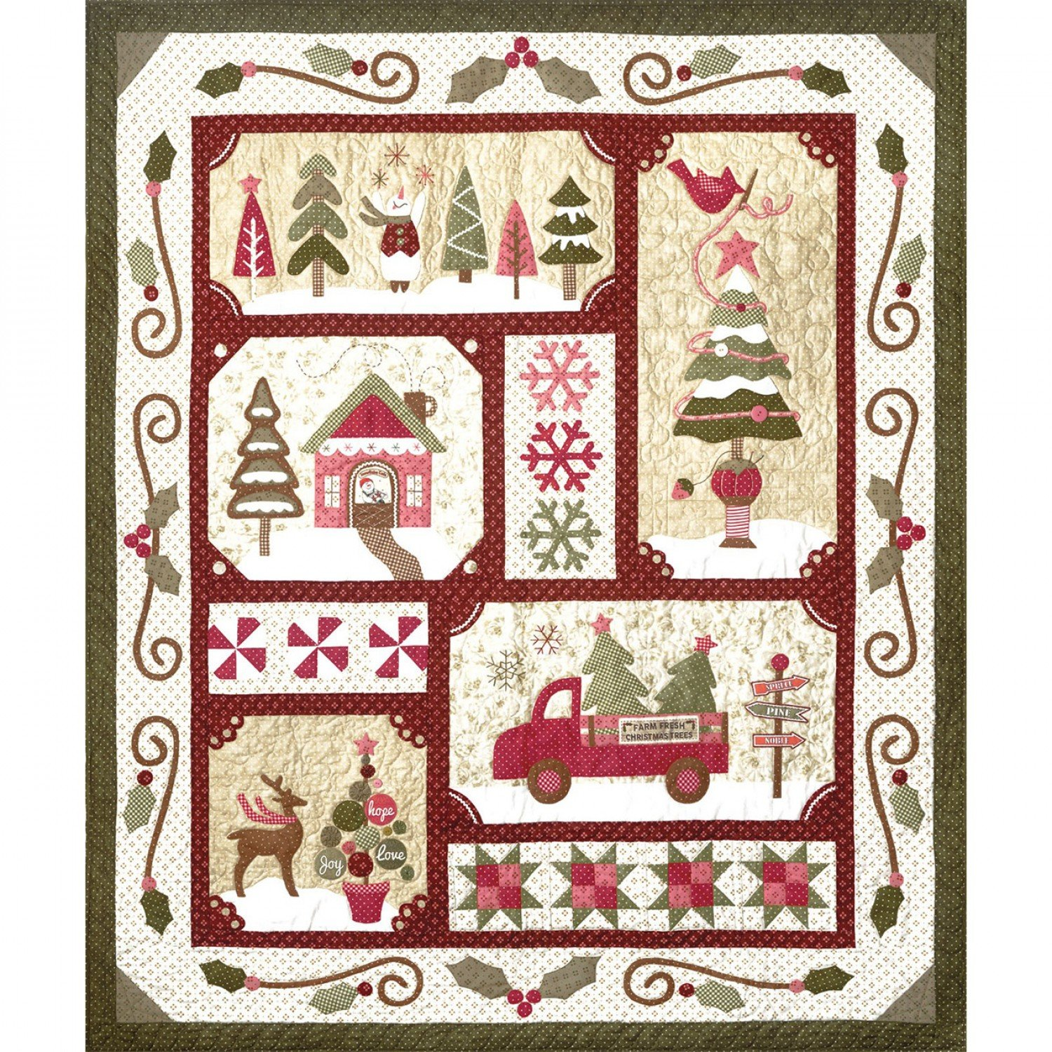 Sew Merry Quilt Pattern Set with Accessory Fabric Packet & Buttons