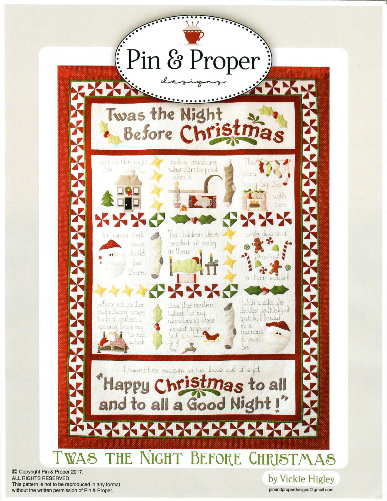 Twas The Night Before Christmas Pattern by Pin & Proper Designs