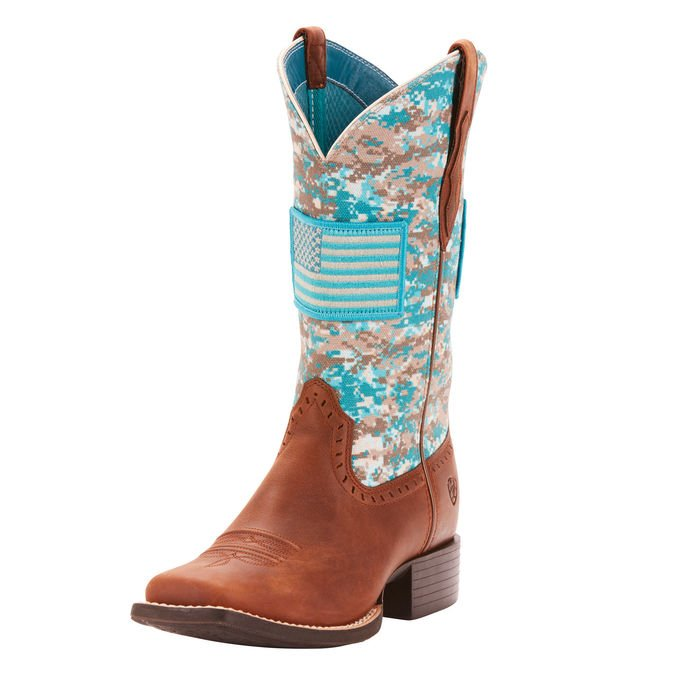 Ariat 10025954 Round Up Patriot Foothill Brown/Turquoise Camo