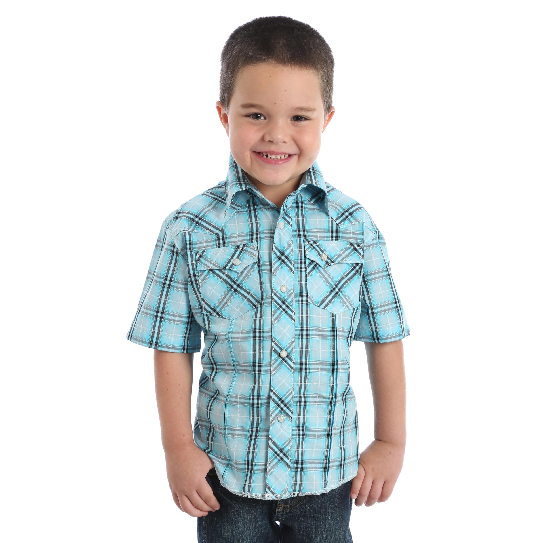 Boys Wrangler SS Shirt BVG251Q Blue 419