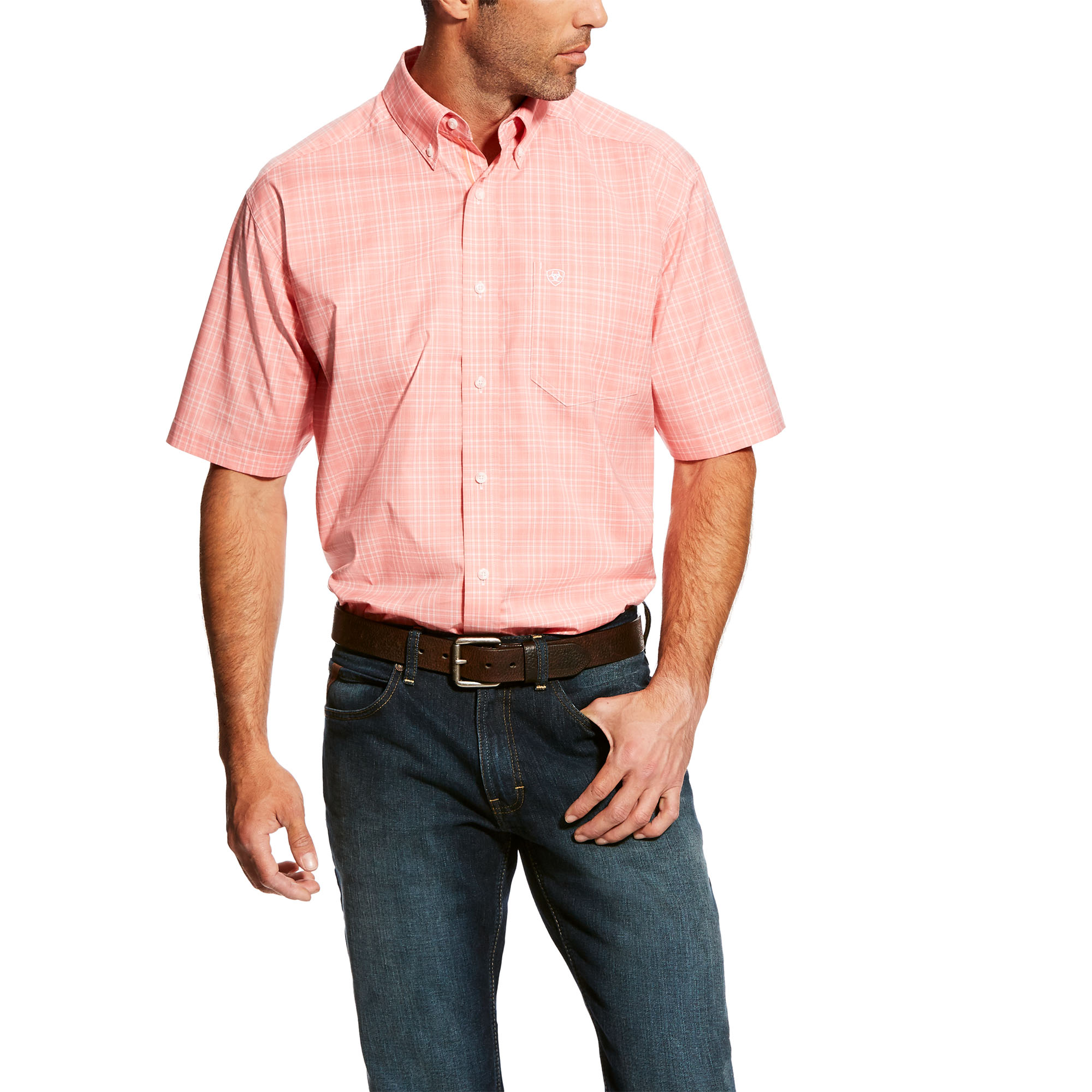 Ariat 10025827 Men's Harper SS Stretch Shirt Coral 319