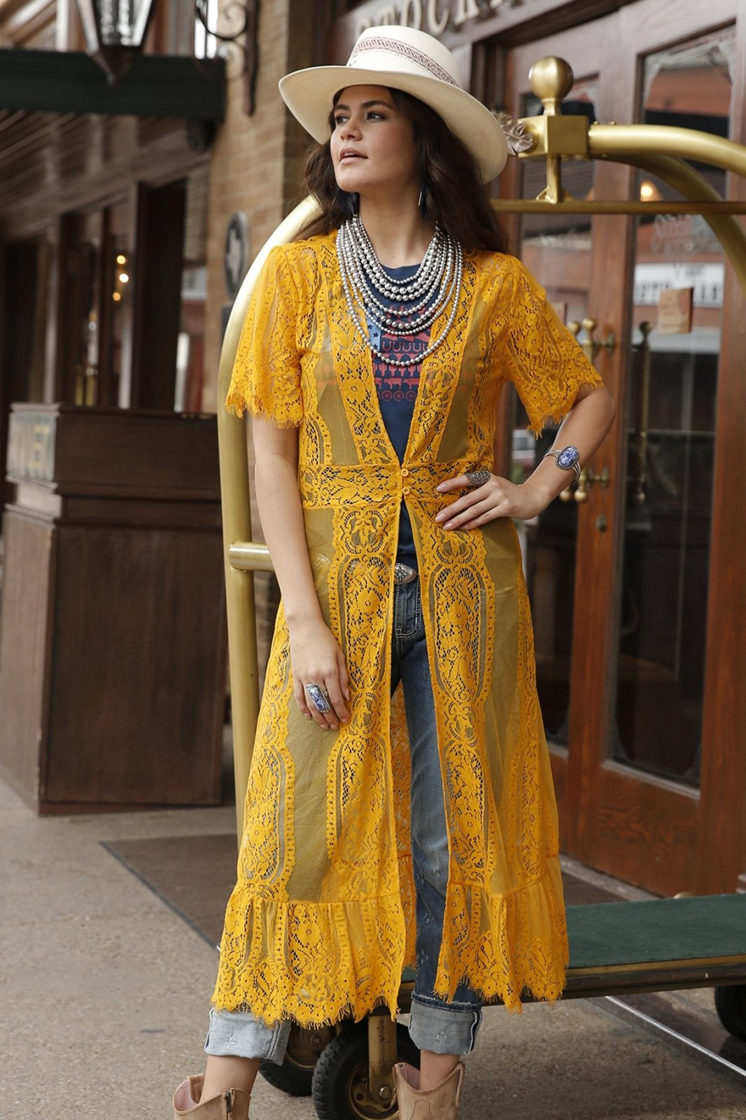 Cruel Girl SS Cotton-Nylon Lace Duster Yellow 0620