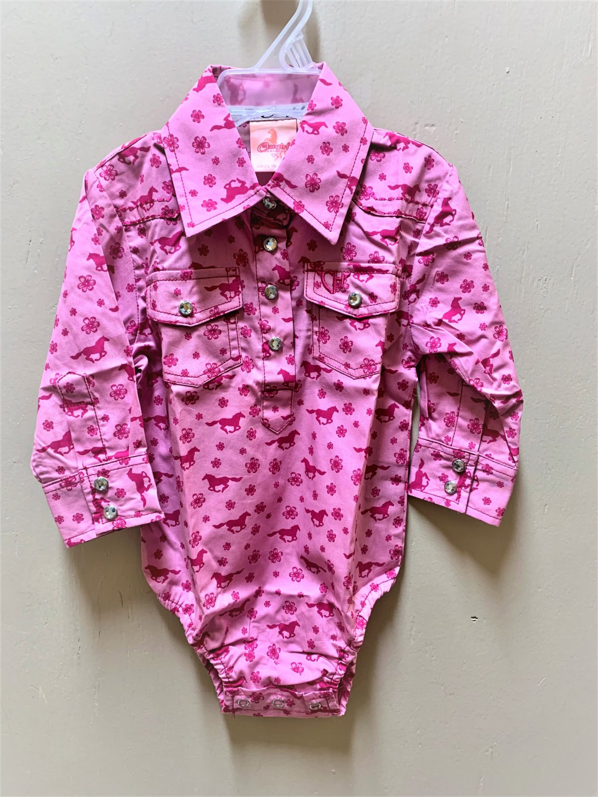 Cowgirl Hardware Infant Daisy Rider LS Romper Pink 0721