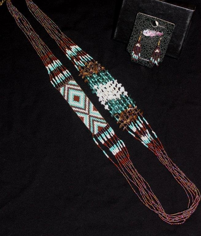 Brown/Turquoise Beaded Necklace/Earring Set