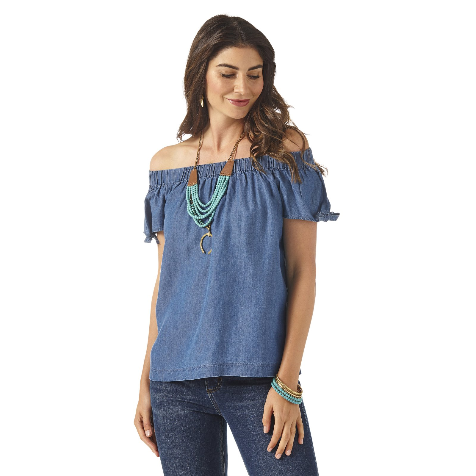 Wrangler Ladies Chambray Off Shoulder Top w/Knot Sleeves 0620