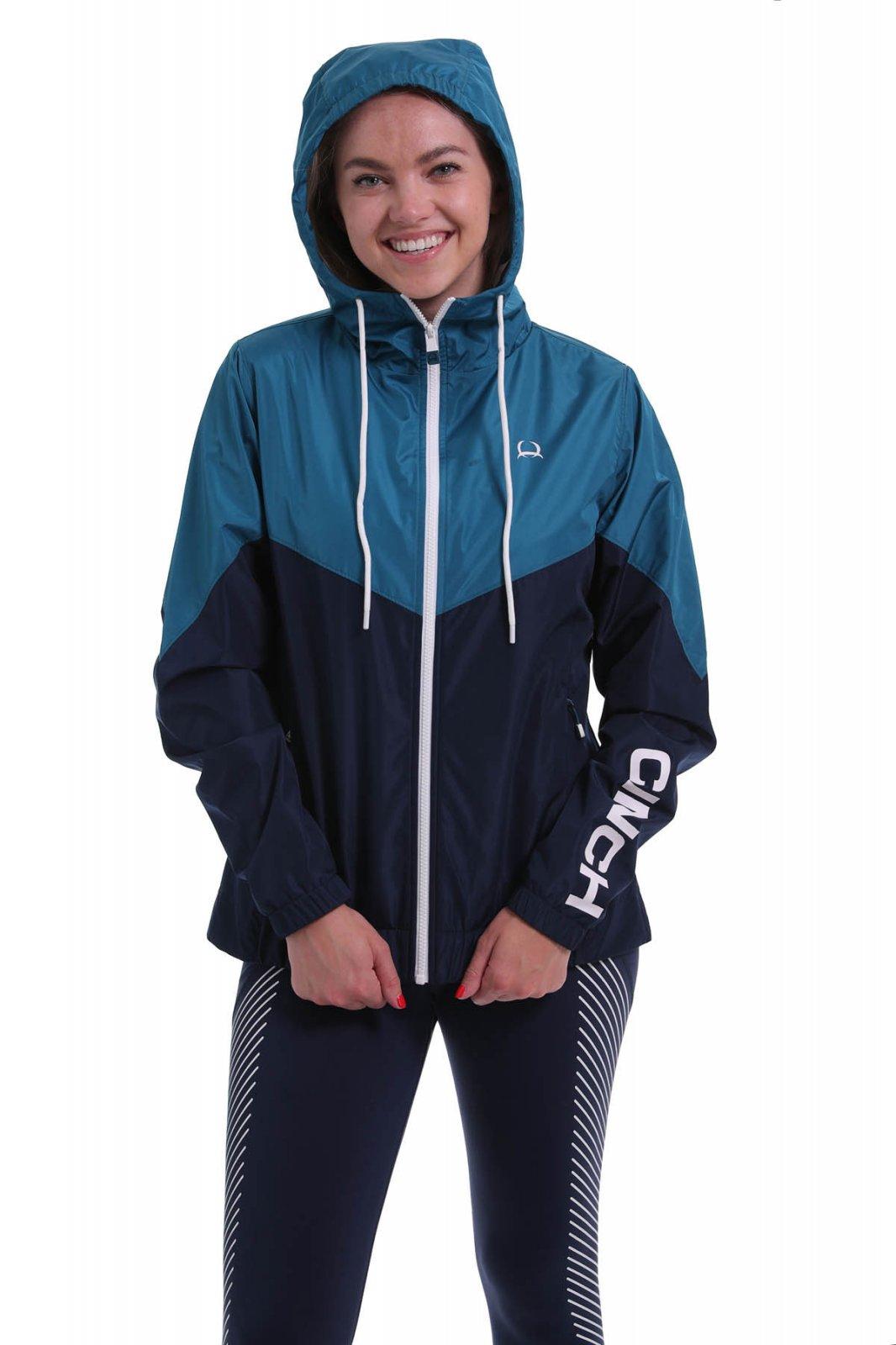 Ladies Cinch Hooded Rain Jacket Navy 0220