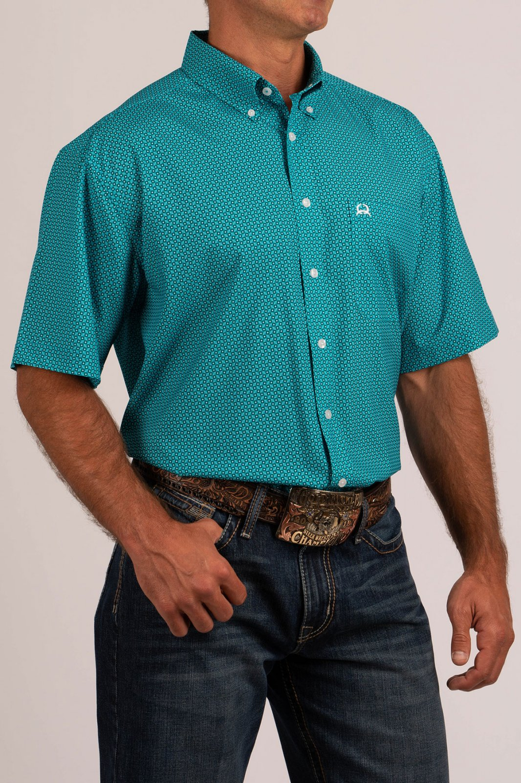 Cinch Men's SS Arena Flex Shirt Turq 519