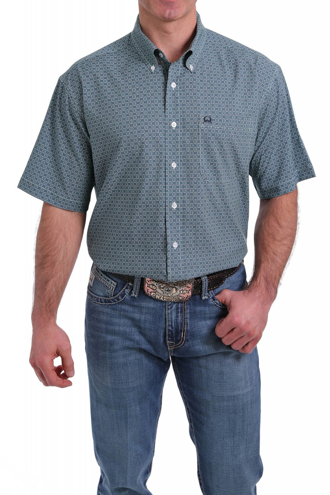 Cinch Men's SS Arena Flex Shirt Light Blue 0320
