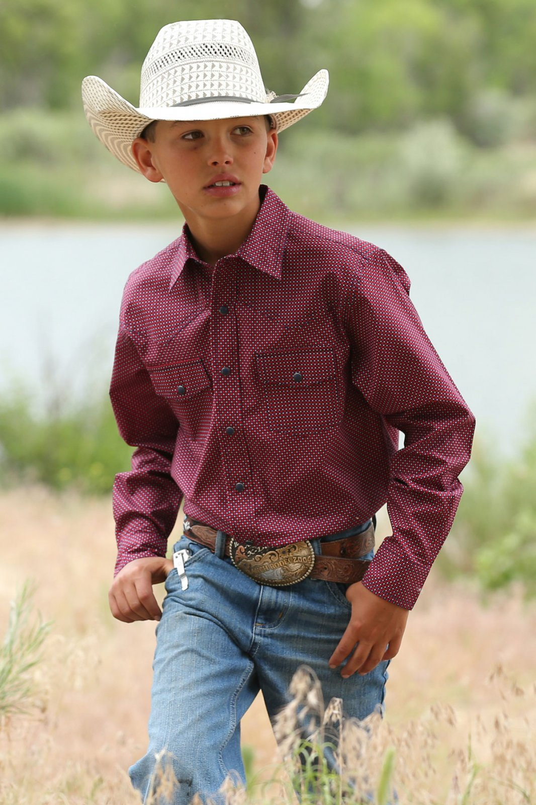 Cinch Boy's LS Printed Plain Weave RED 519