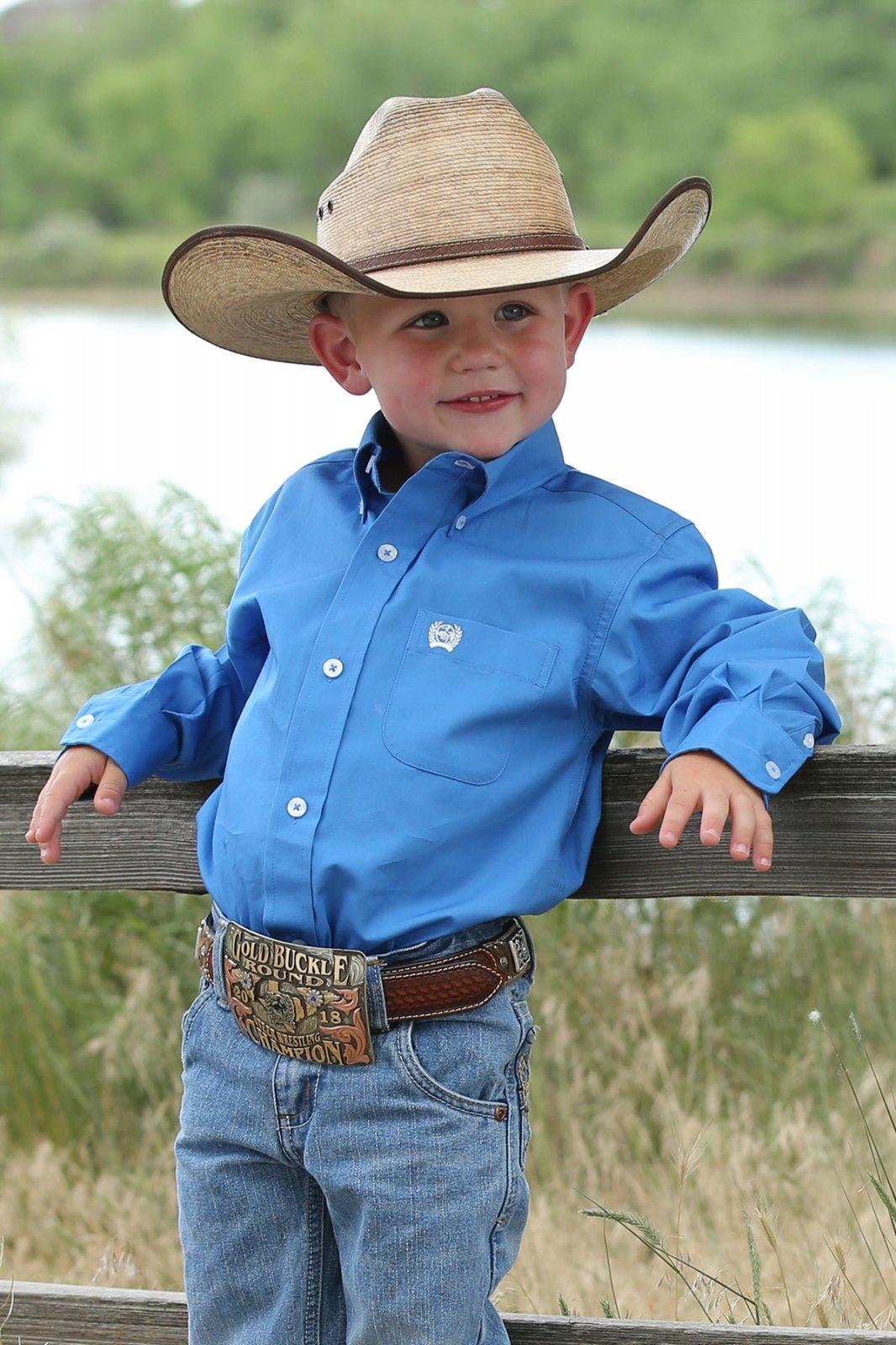 Cinch Boy's LS Blue Shirt 0619