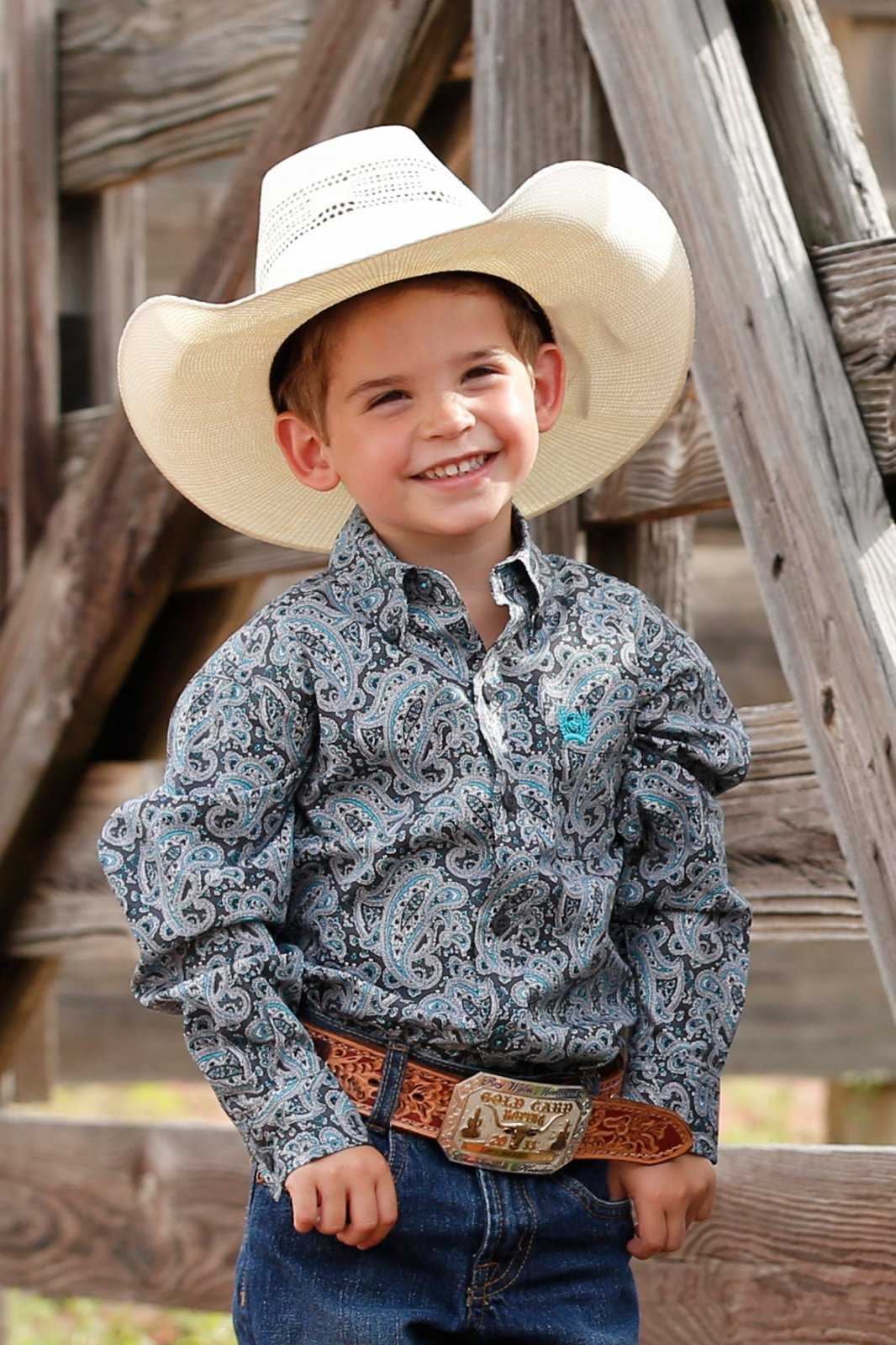 Boy's Cinch LS Shirt Paisley Grey 0620
