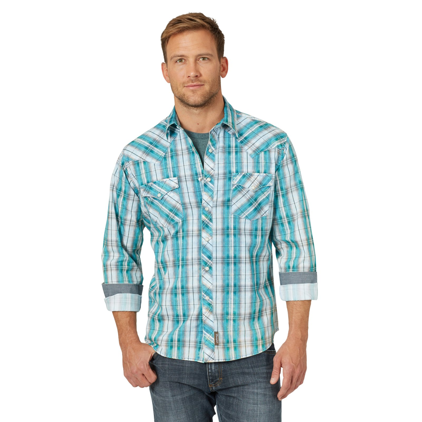Wrangler Men's Retro LS Shirt Teal 0620