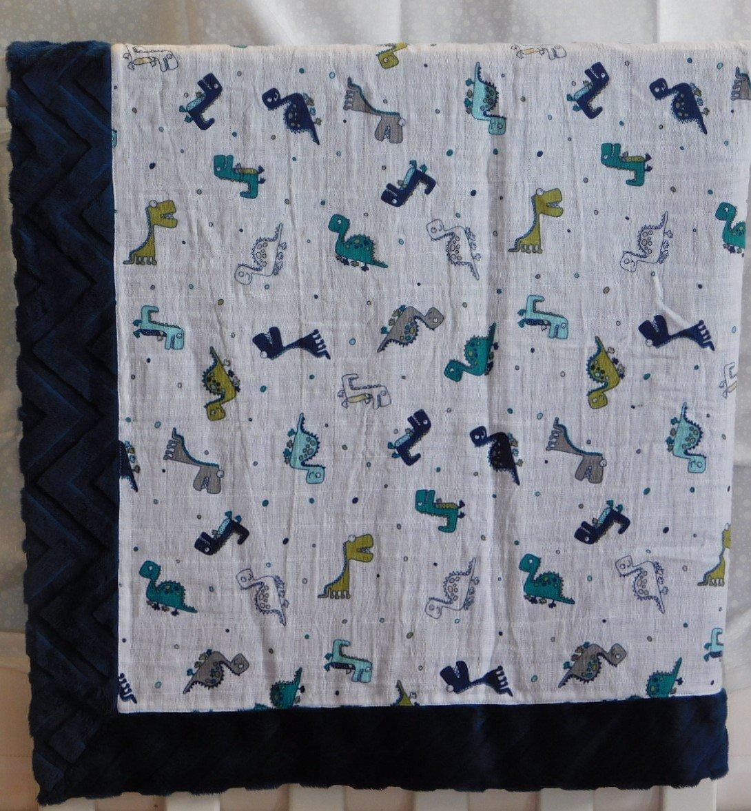 Blue Dinosaurs Minky-Gauze Blanket